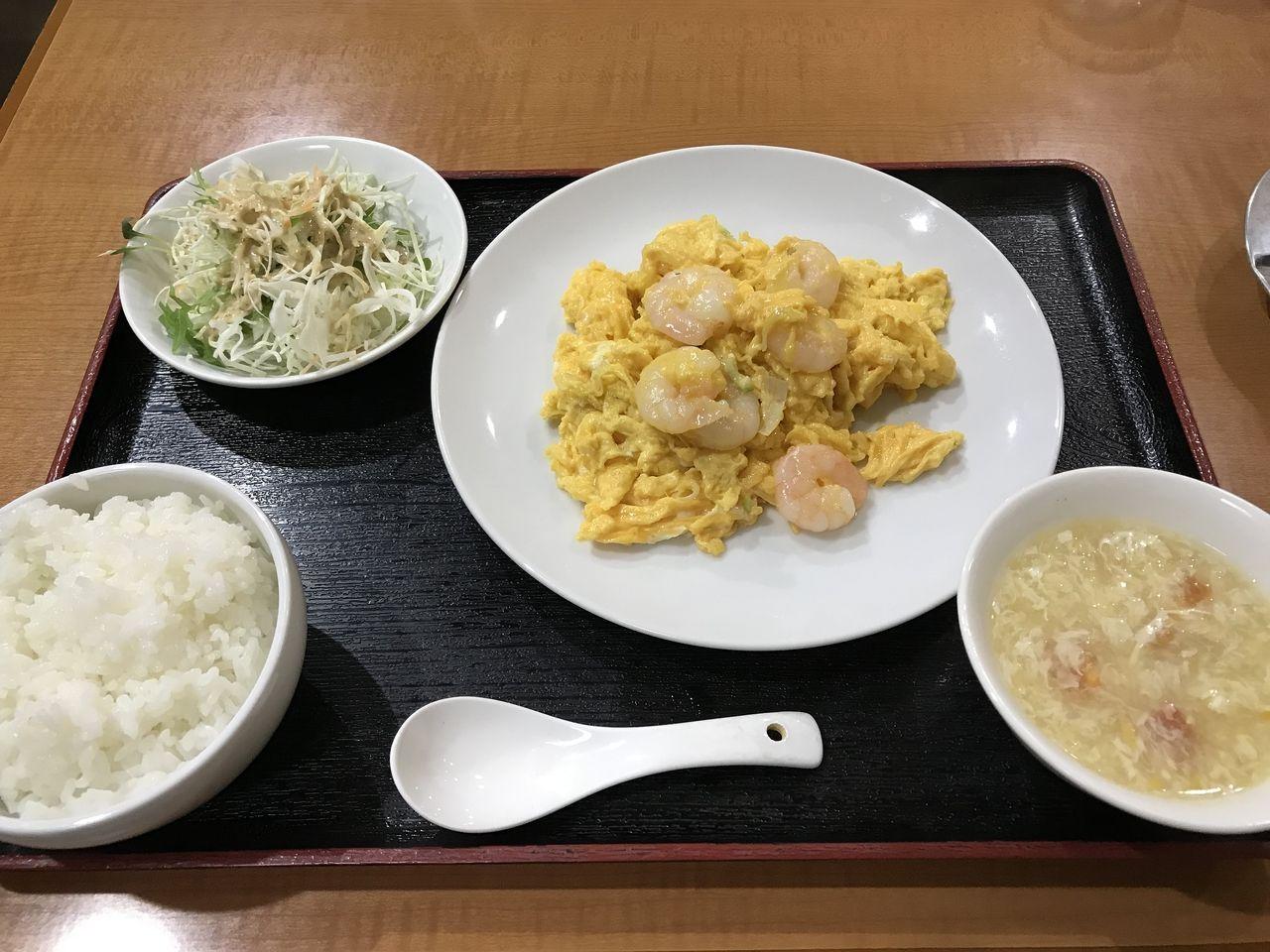 行徳の橘屋のえびとふんわり卵炒め定食