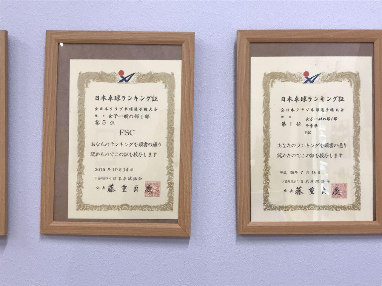 行徳のFSC卓球クラブの賞状2枚