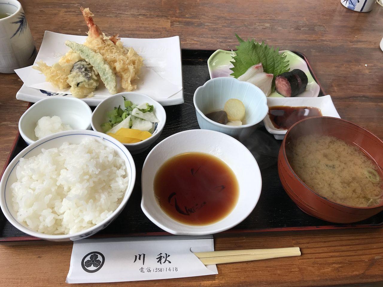 行徳の川秋の天ぷら定食