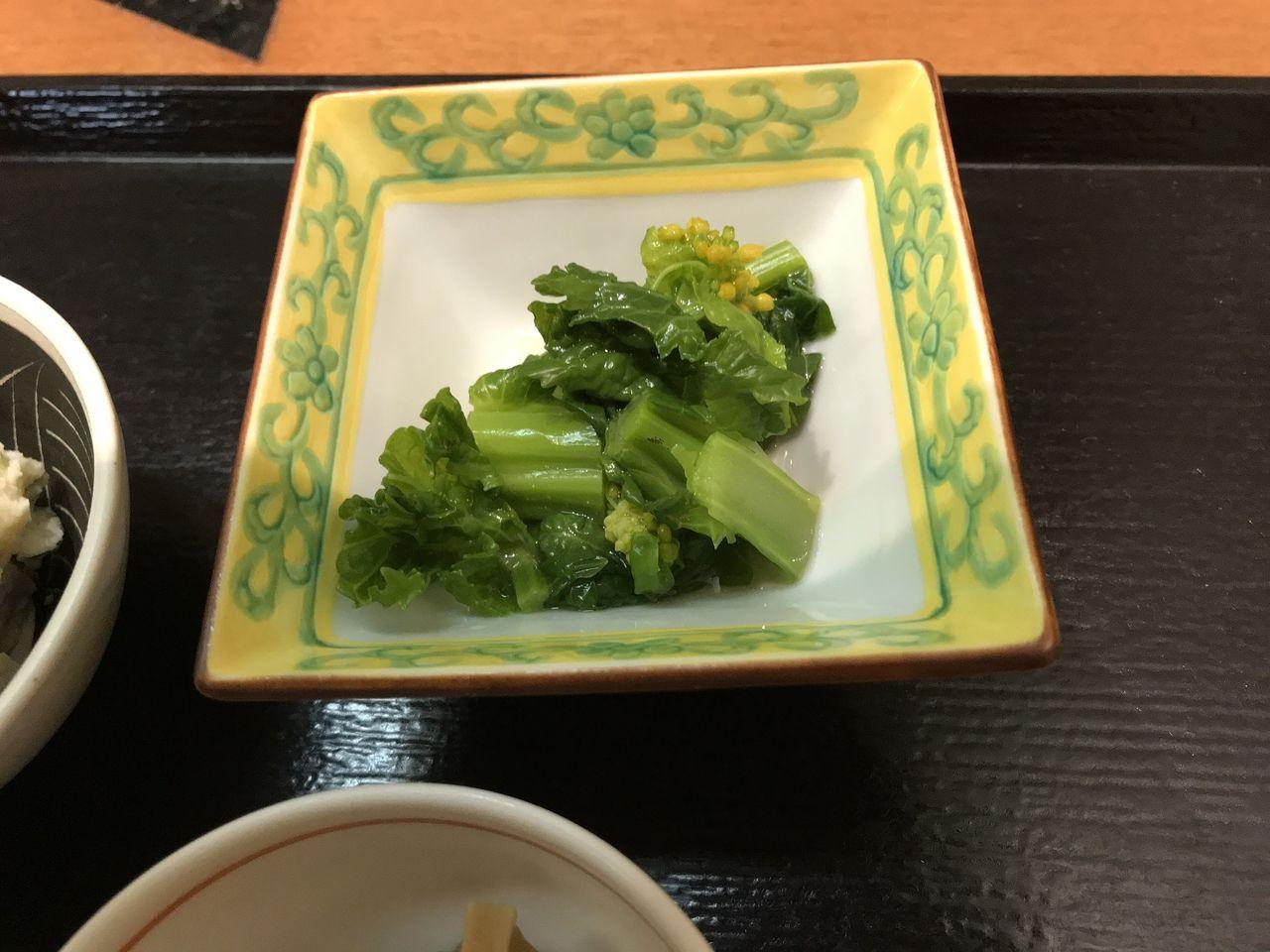 行徳のえびすのランチの小鉢 菜の花