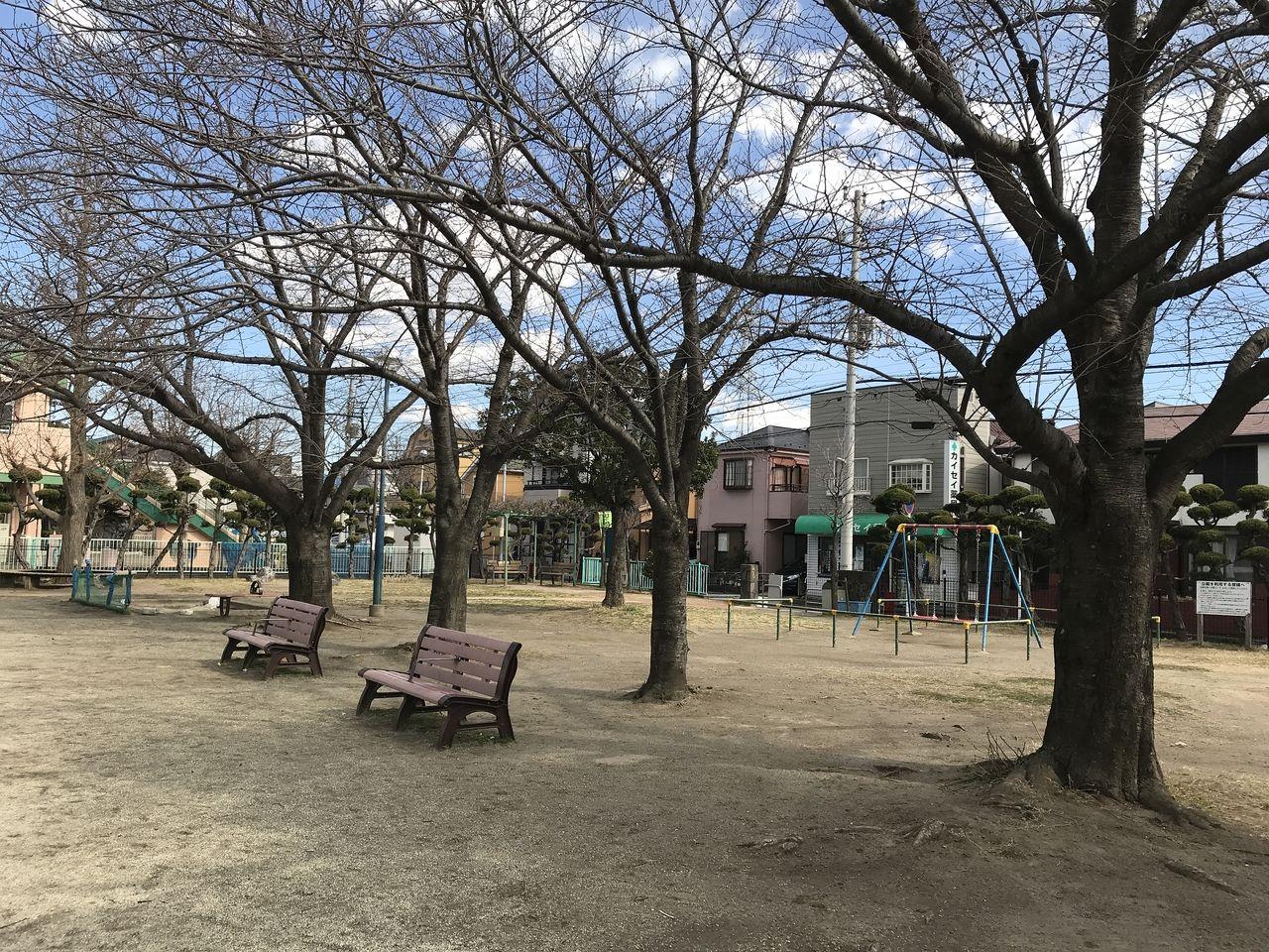 行徳の神輿公園のベンチ