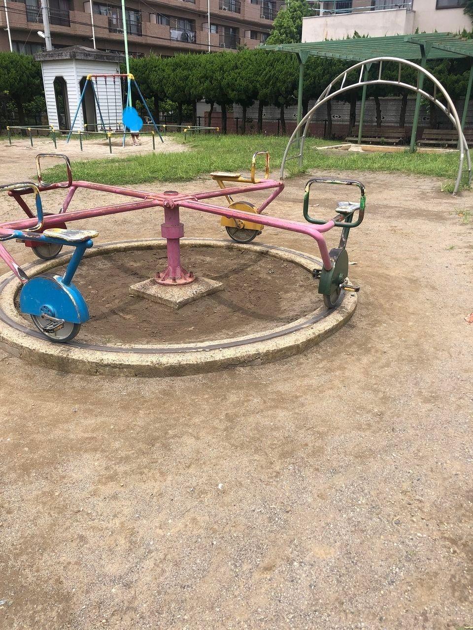 子供が大好きな車輪付き遊具もあります♪末広2丁目「南場公園」☆