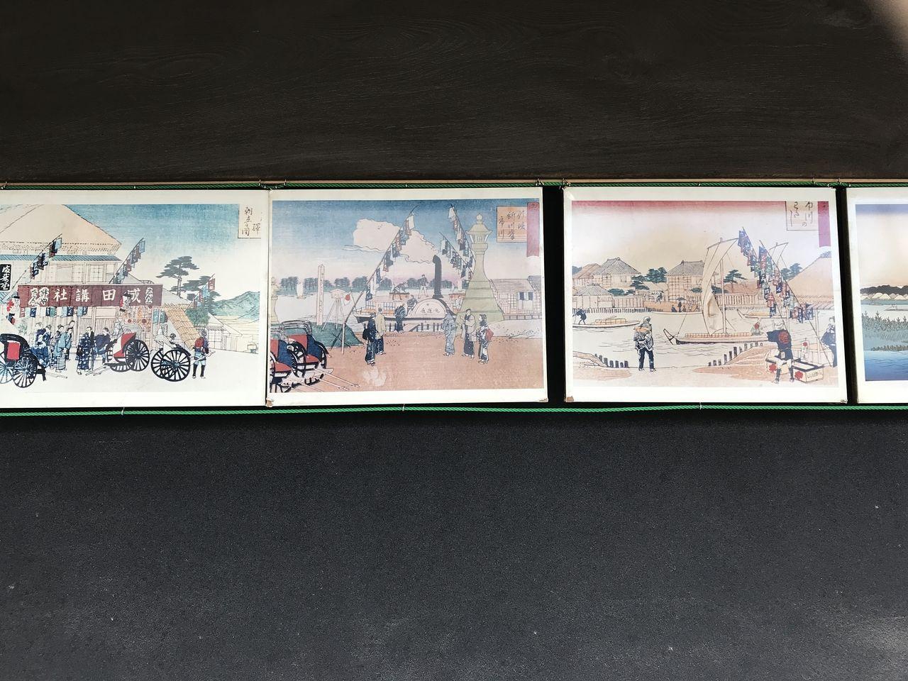 行徳の笹屋うどん跡の軒先にある浮世絵